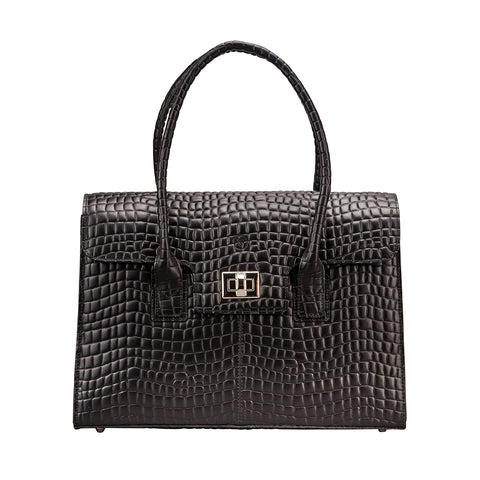 Image 1 of the 'Fabia' Black Croco Veg-Tanned Leather Workbag