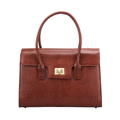 Image 1 of the 'Fabia' Chestnut Croco Veg-Tanned Leather Workbag