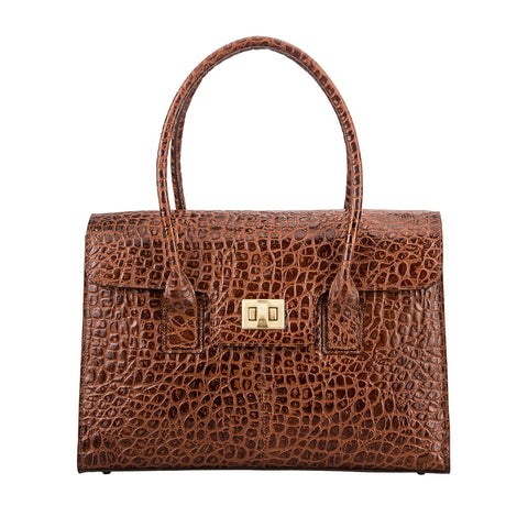 Image 2 of the 'Fabia' Chocolate Croco Veg-Tanned Leather Workbag