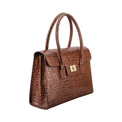 Image 1 of the 'Fabia' Chocolate Croco Veg-Tanned Leather Workbag