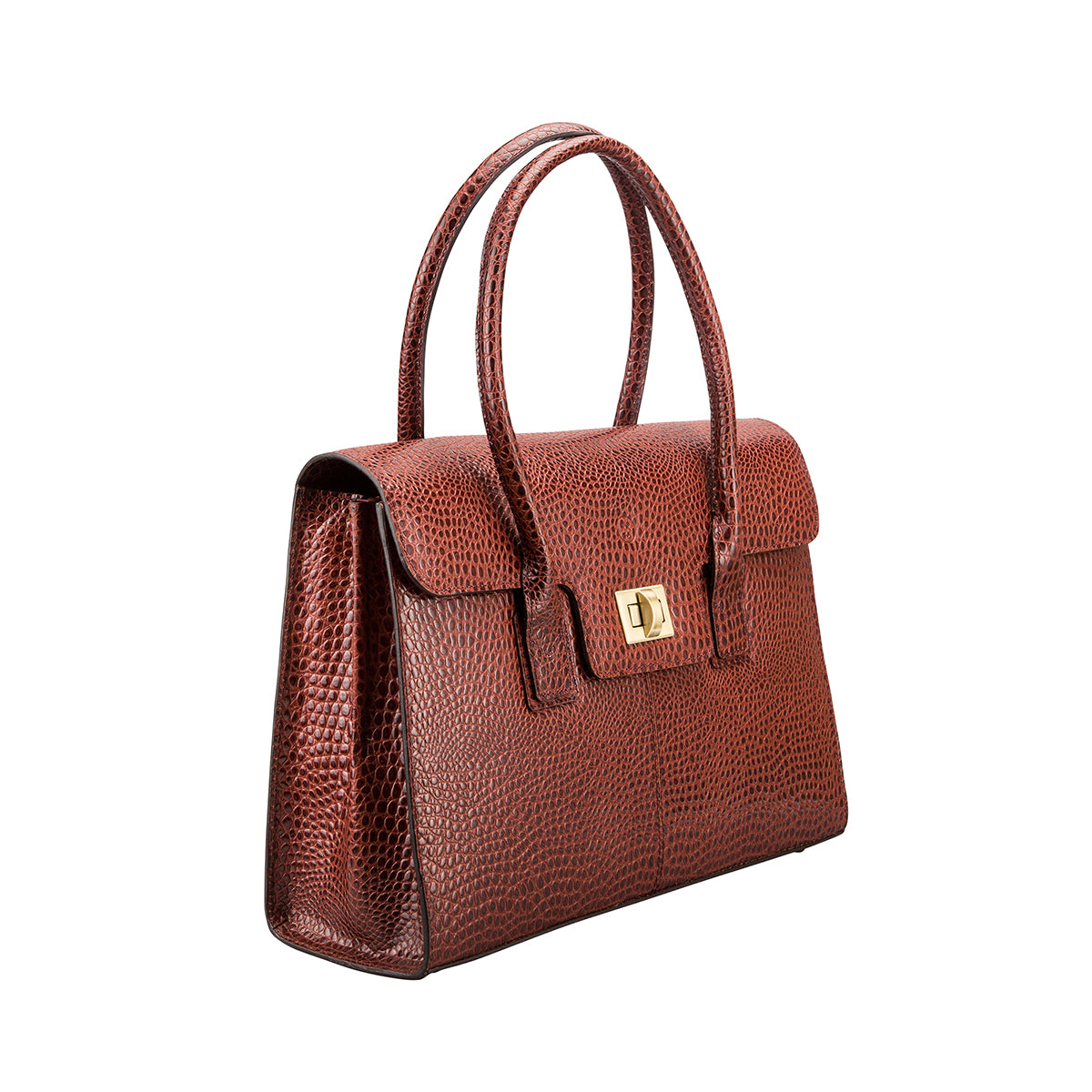 Image 2 of the 'Fabia' Chestnut Croco Veg-Tanned Leather Workbag