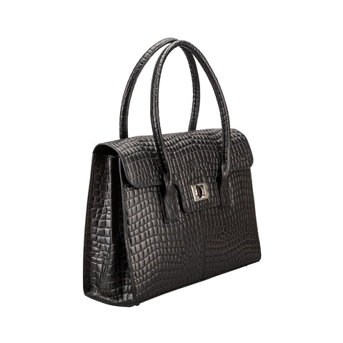 Image 2 of the 'Fabia' Black Croco Veg-Tanned Leather Workbag