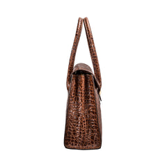 Image 3 of the 'Fabia' Chocolate Croco Veg-Tanned Leather Workbag