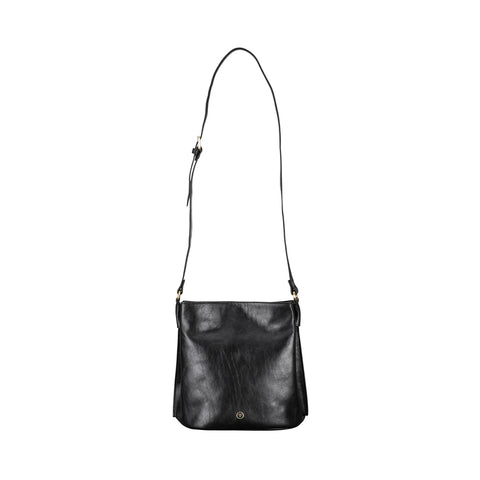 Image 1 of the 'Palermo' Handmade Black Veg-Tanned Leather Shoulder Bag