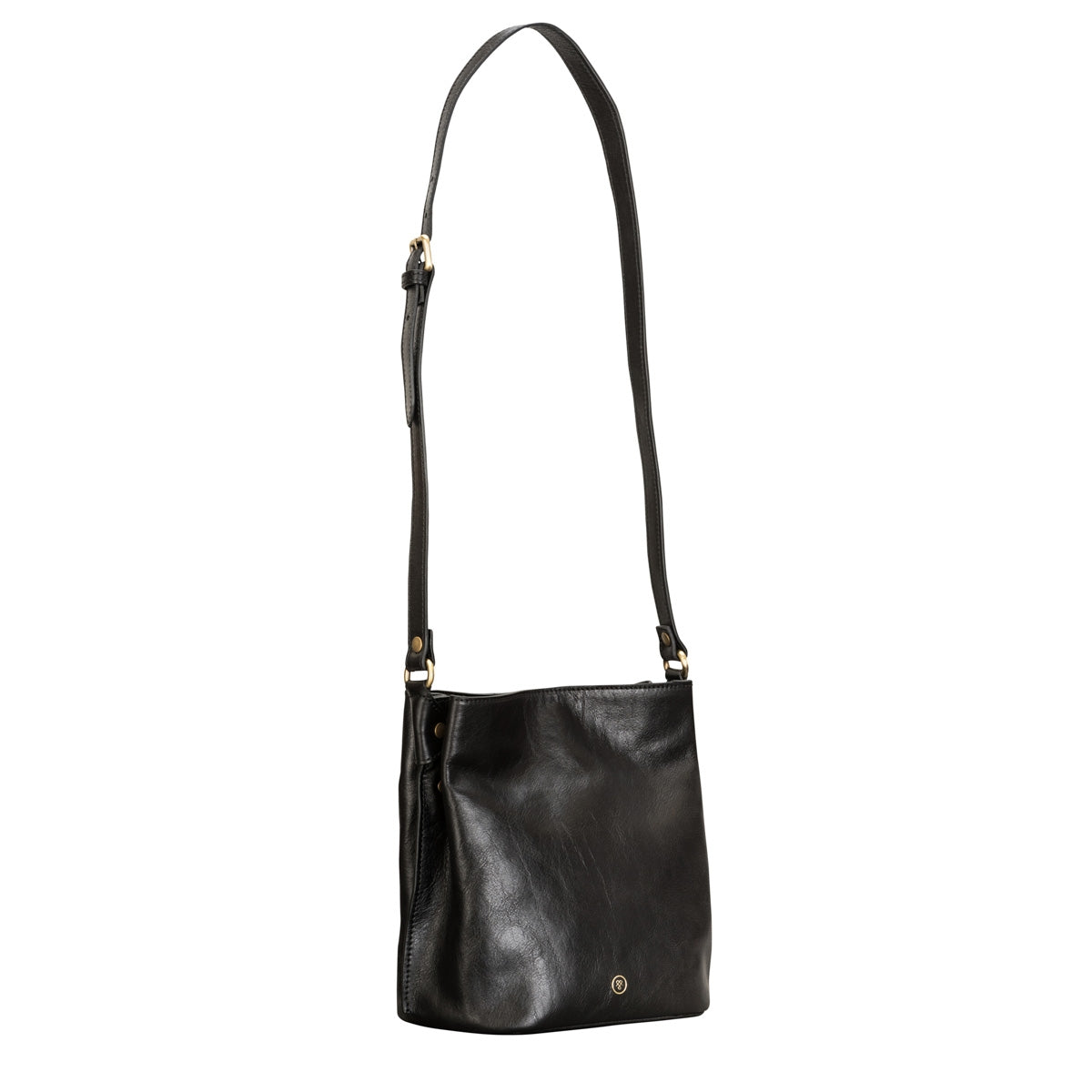 Image 2 of the 'Palermo' Handmade Black Veg-Tanned Leather Shoulder Bag
