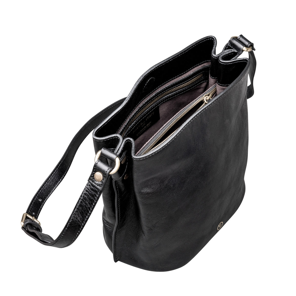 Image 5 of the 'Palermo' Handmade Black Veg-Tanned Leather Shoulder Bag