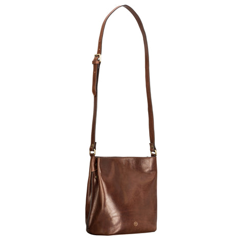 Image 2 of the 'Palermo' Handmade Chestnut Veg-Tanned Leather Shoulder Bag