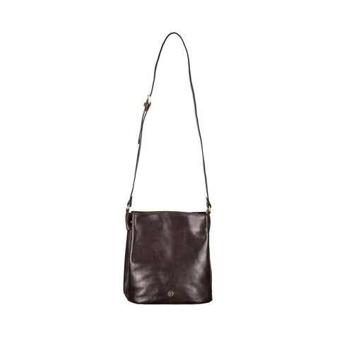 Image 1 of the 'Palermo' Handmade Dark Chocolate Veg-Tanned Leather Shoulder Bag