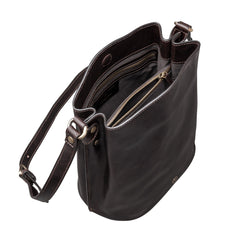 Image 5 of the 'Palermo' Handmade Dark Chocolate Veg-Tanned Leather Shoulder Bag