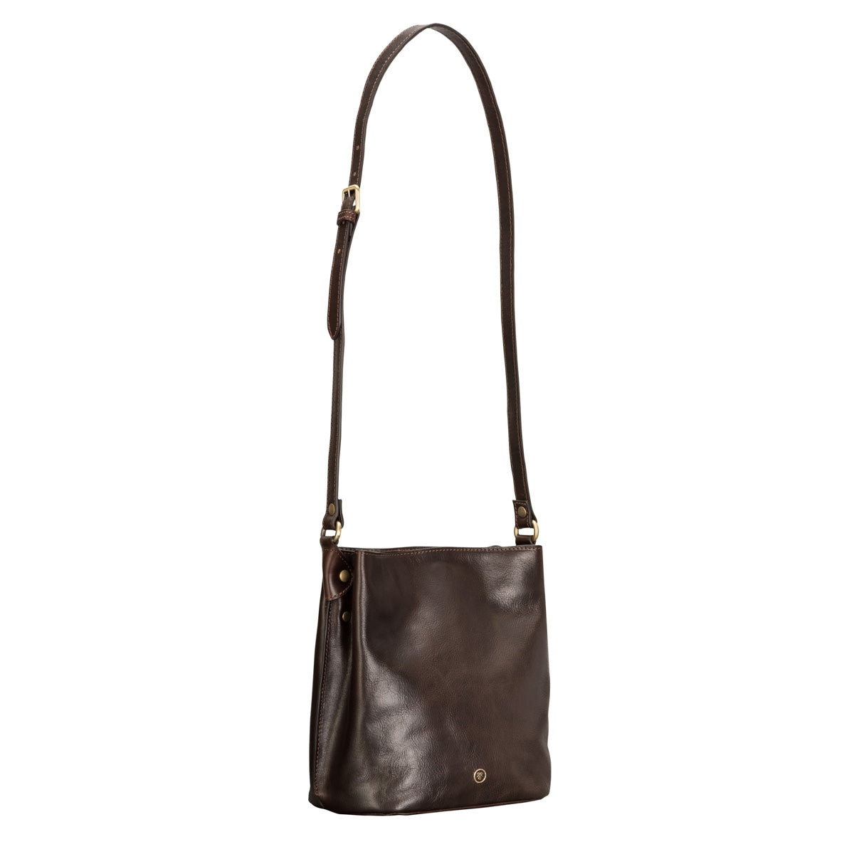 Image 3 of the 'Palermo' Handmade Dark Chocolate Veg-Tanned Leather Shoulder Bag
