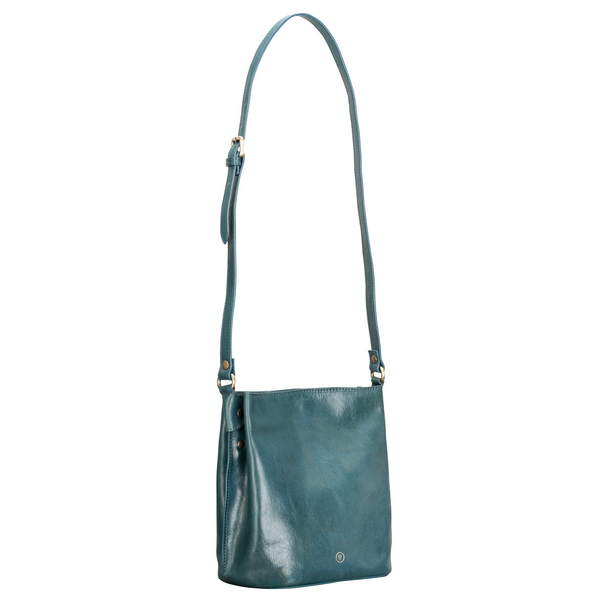Image 2 of the 'Palermo' Petrol Leather Ladies Bucket Bag Handbag