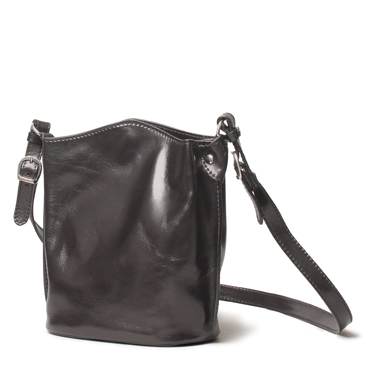 Image 3 of the 'Palermo' Women's Black Leather Bucket Bag