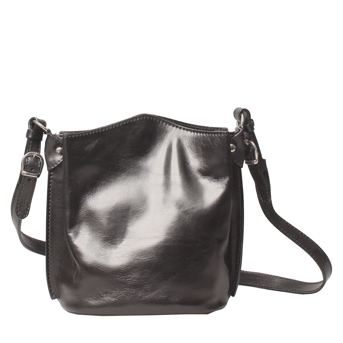 Image 1 of the 'Palermo' Women's Black Leather Bucket Bag