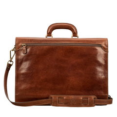 Image 4 of the 'Paolo Due' Handmade Chestnut Veg-Tanned Leather Suitcase