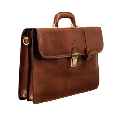 Image 2 of the 'Paolo Due' Handmade Chestnut Veg-Tanned Leather Suitcase