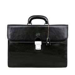 Image 1 of the 'Paolo Due' Handmade Black Veg-Tanned Leather Suitcase