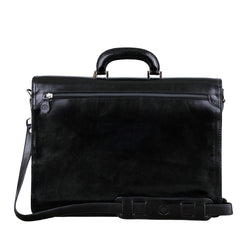 Image 4 of the 'Paolo Due' Handmade Black Veg-Tanned Leather Suitcase