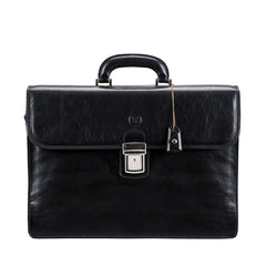 Image 1 of the 'Paolo Tre' Handmade Black Veg-Tanned Leather Suitcase