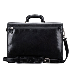 Image 4 of the 'Paolo Tre' Handmade Black Veg-Tanned Leather Suitcase