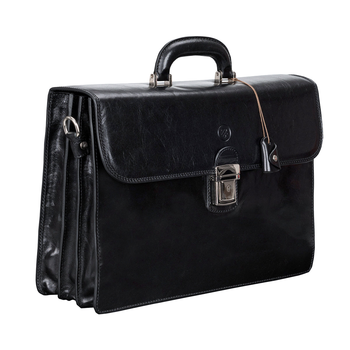 Image 2 of the 'Paolo Tre' Handmade Black Veg-Tanned Leather Suitcase