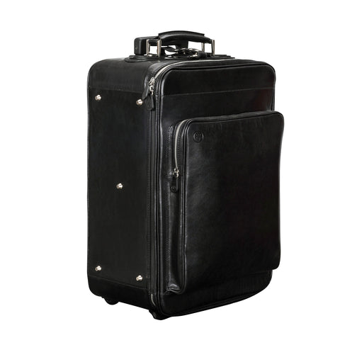 Image 2 of the 'Piazzale' Black Veg-Tanned Leather Wheeled Suitcase