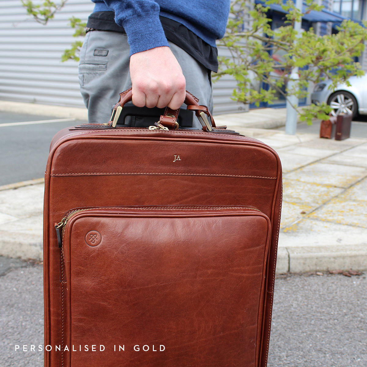 Image 8 of the 'Piazzale' Dark Chocolate Veg-Tanned Leather Wheeled Suitcase