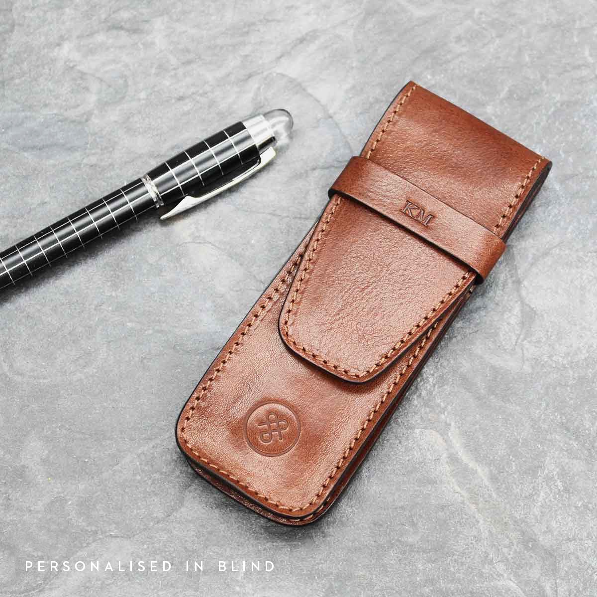 Image 8 of the 'Pienza' Dark Chocolate Veg-Tanned Leather Pen Case