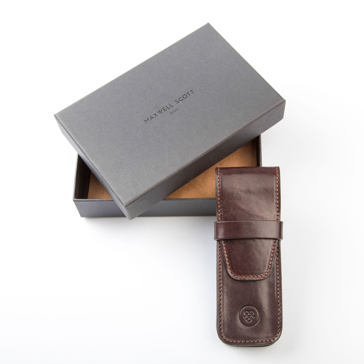 Image 6 of the 'Pienza' Dark Chocolate Veg-Tanned Leather Pen Case