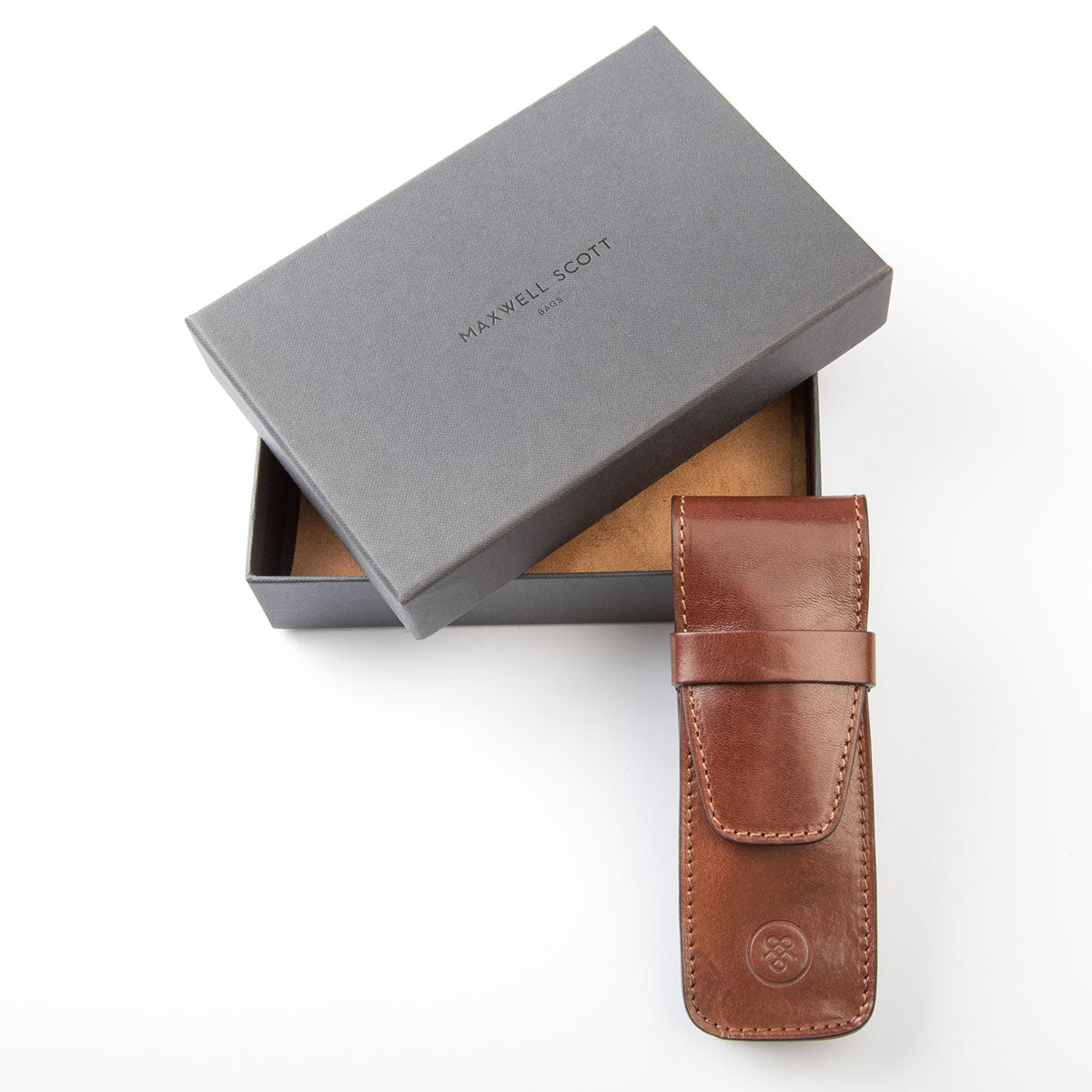 Image 6 of the 'Pienza' Chestnut Veg-Tanned Leather Pen Case
