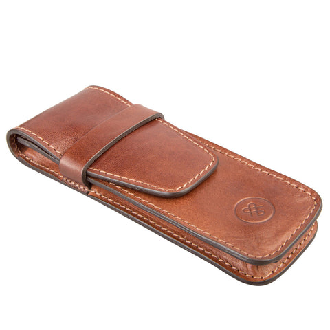 Image 2 of the 'Pienza' Chestnut Veg-Tanned Leather Pen Case