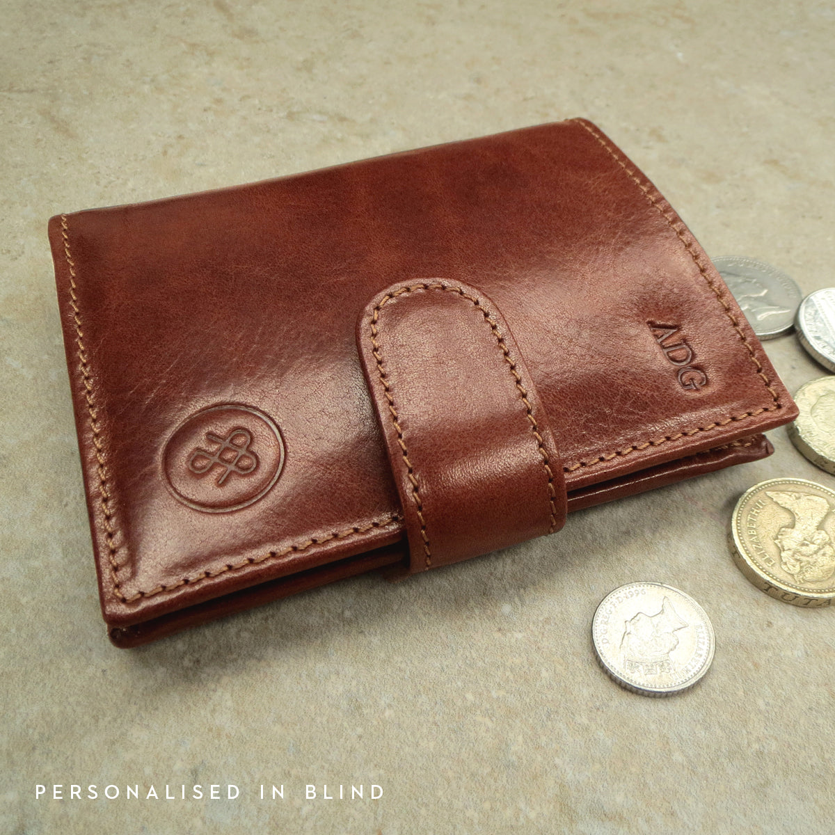 Image 9 of the 'Pietre' Chestnut Veg-Tanned Leather Compact Wallet