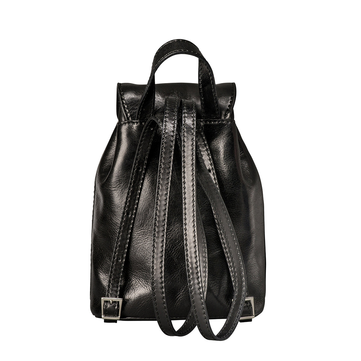 Image 4 of the 'Popolo' Compact Black Veg-Tanned Leather Shoulder Bag