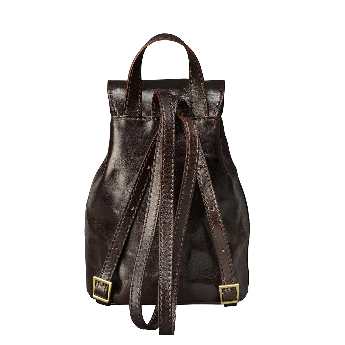 Image 4 of the 'Popolo' Compact Dark Chocolate Veg-Tanned Leather Shoulder Bag