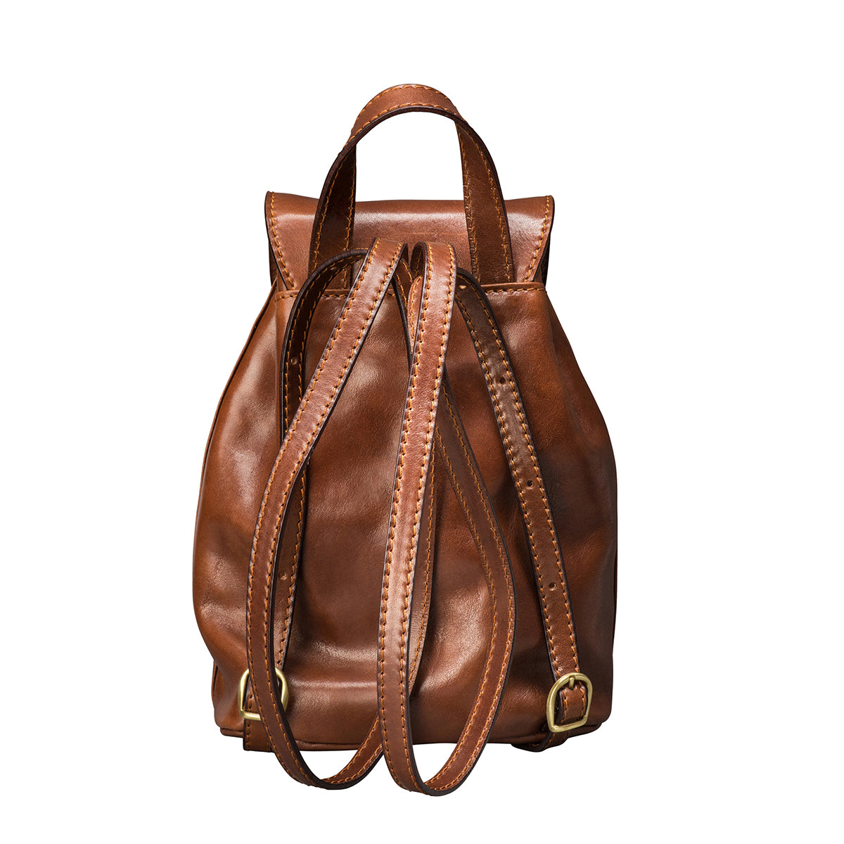 Image 4 of the 'Popolo' Compact Chestnut Veg-Tanned Leather Shoulder Bag