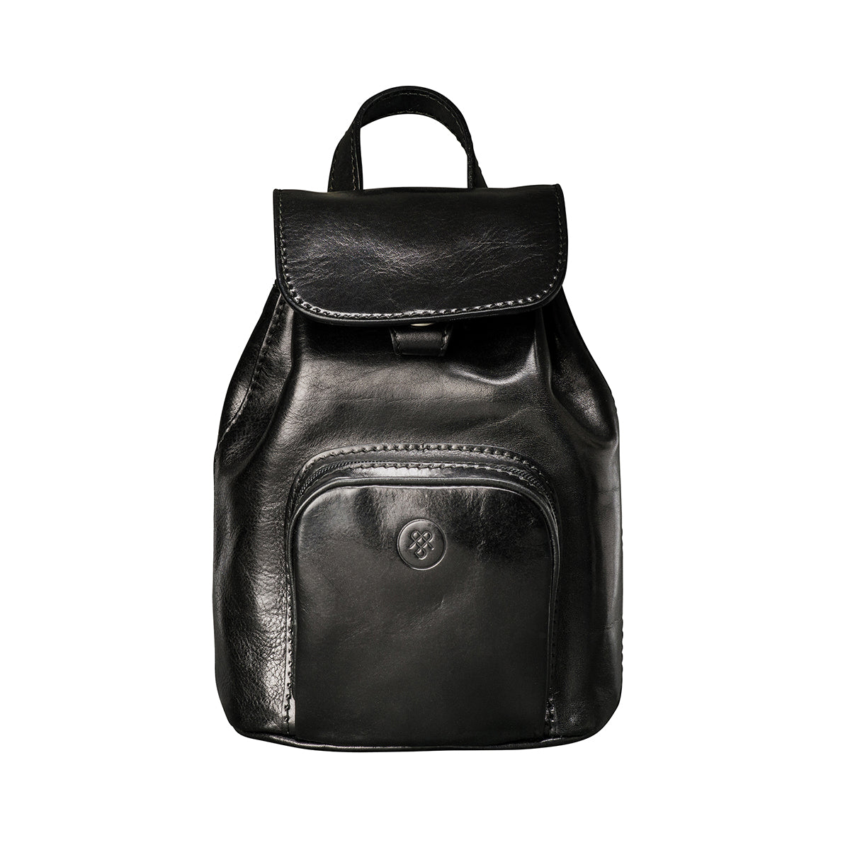 Image 1 of the 'Popolo' Compact Black Veg-Tanned Leather Shoulder Bag