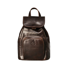 Image 1 of the 'Popolo' Compact Dark Chocolate Veg-Tanned Leather Shoulder Bag