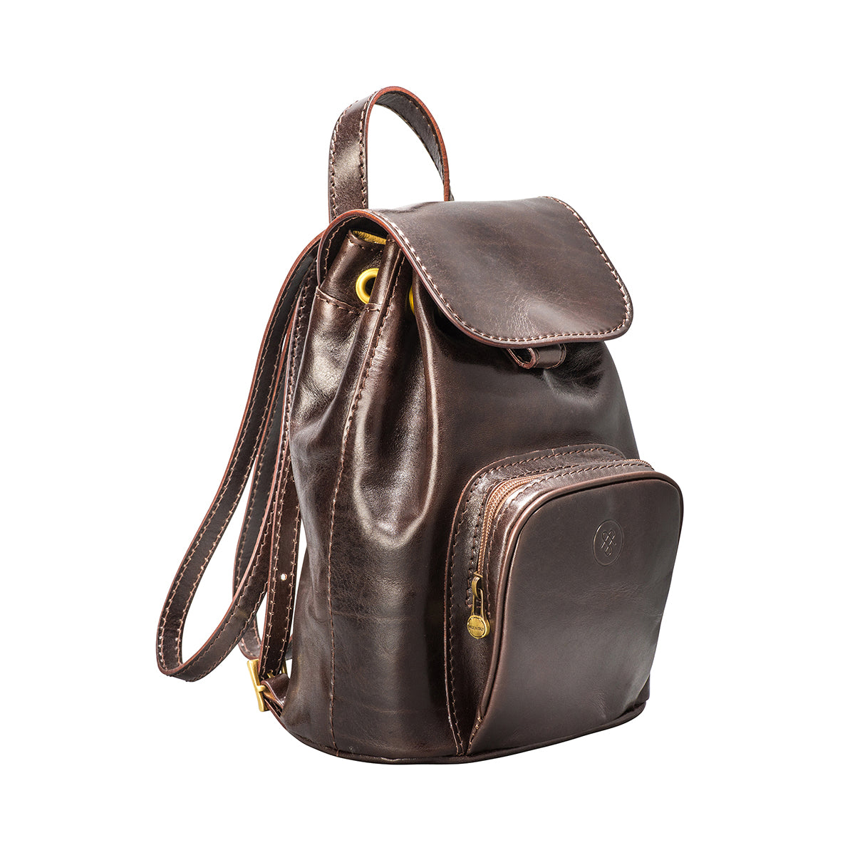 Image 2 of the 'Popolo' Compact Dark Chocolate Veg-Tanned Leather Shoulder Bag