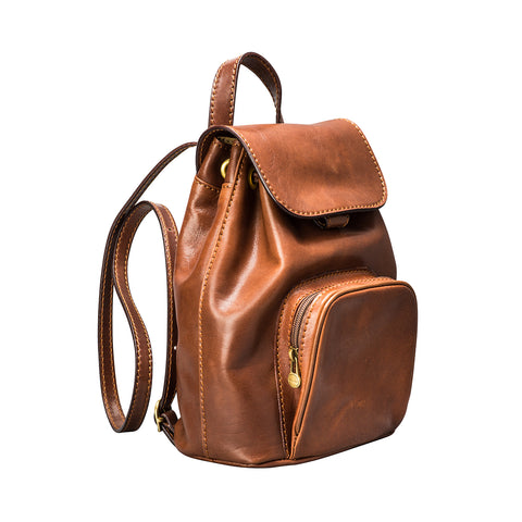 Image 2 of the 'Popolo' Compact Chestnut Veg-Tanned Leather Shoulder Bag