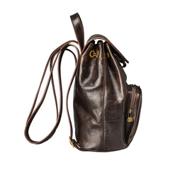 Image 3 of the 'Popolo' Compact Dark Chocolate Veg-Tanned Leather Shoulder Bag