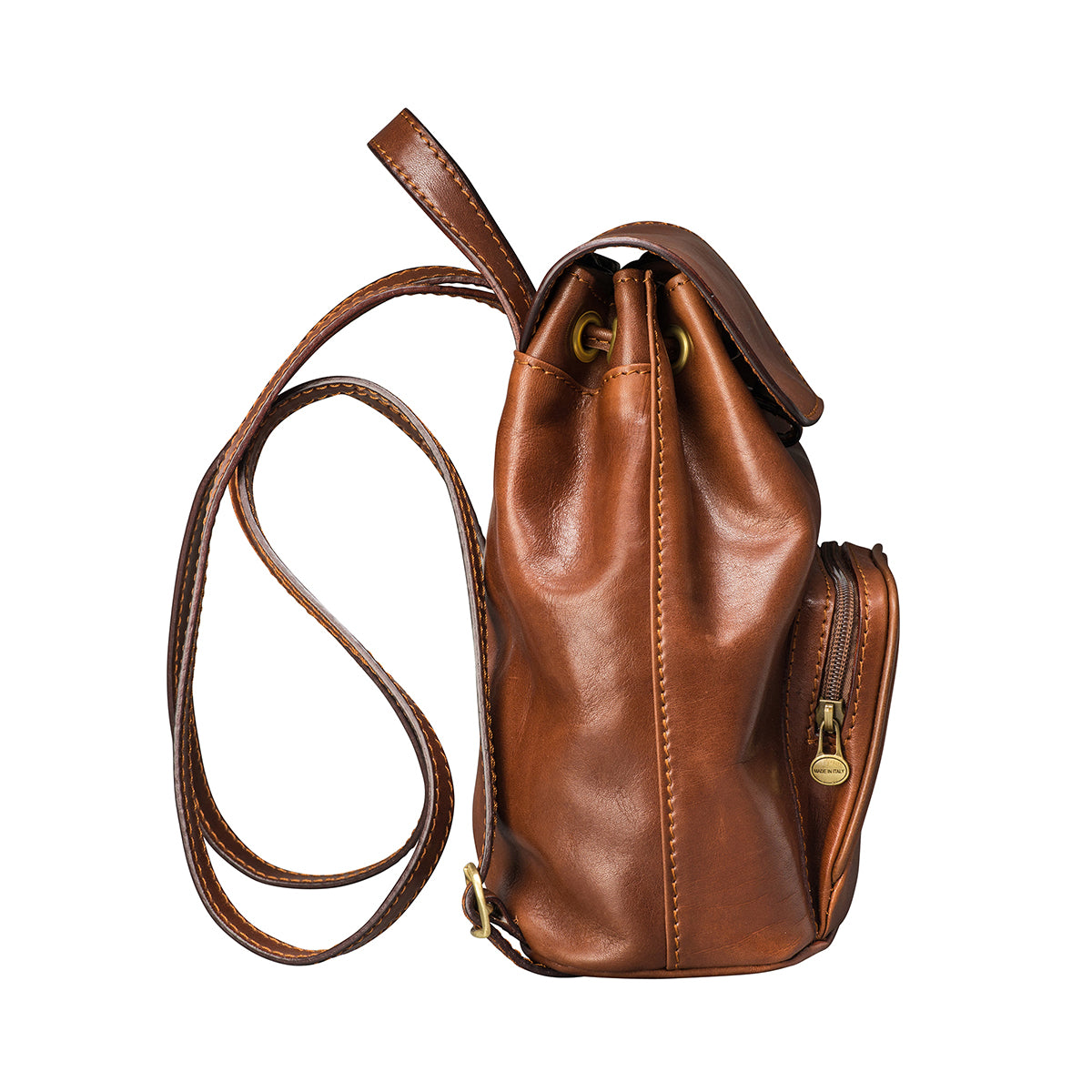 Image 3 of the 'Popolo' Compact Chestnut Veg-Tanned Leather Shoulder Bag