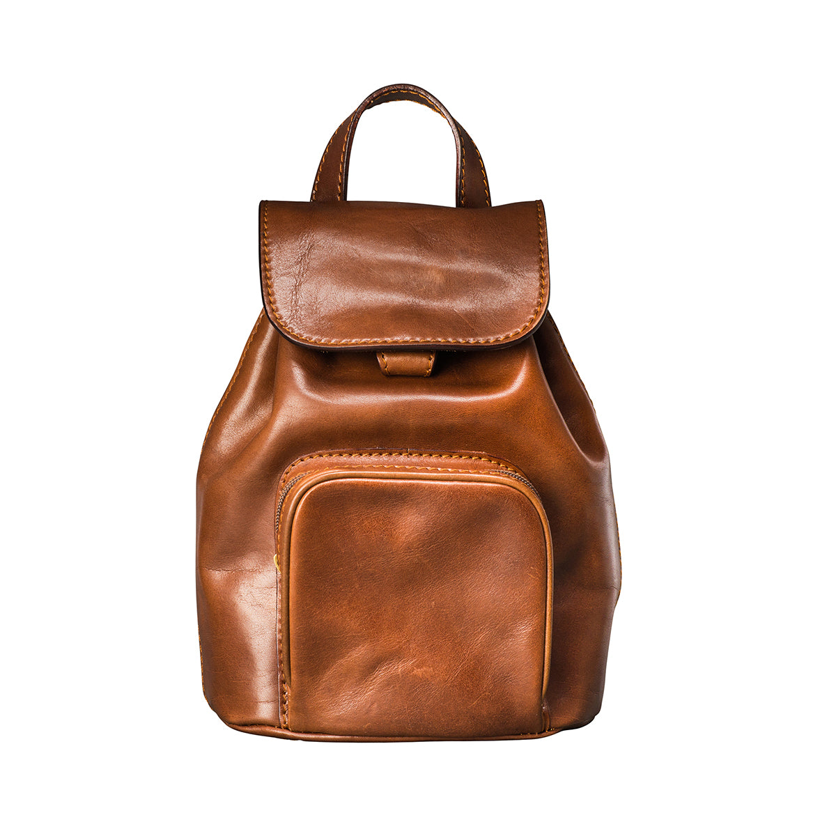 Image 1 of the 'Popolo' Compact Chestnut Veg-Tanned Leather Shoulder Bag