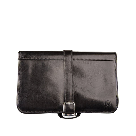 Image 1 of the 'Pratello' Black Veg-Tanned Leather Wash Bag