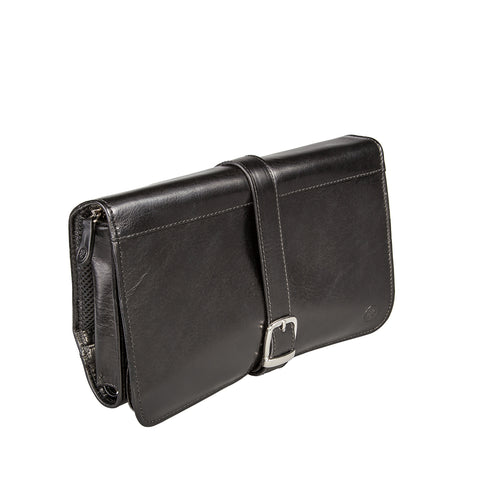 Image 2 of the 'Pratello' Black Veg-Tanned Leather Wash Bag