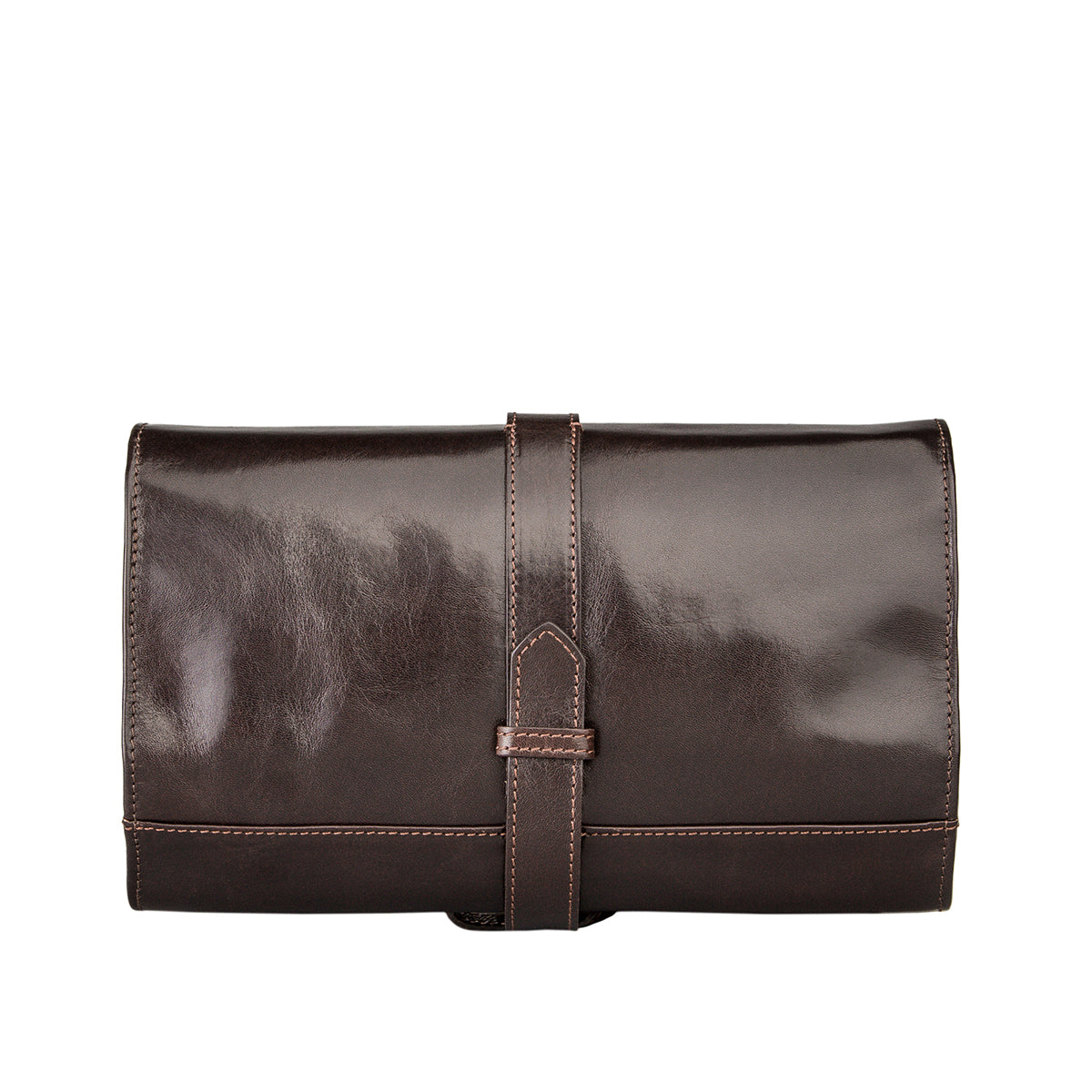 Image 4 of the 'Pratello' Dark Chocolate Veg-Tanned Leather Wash Bag