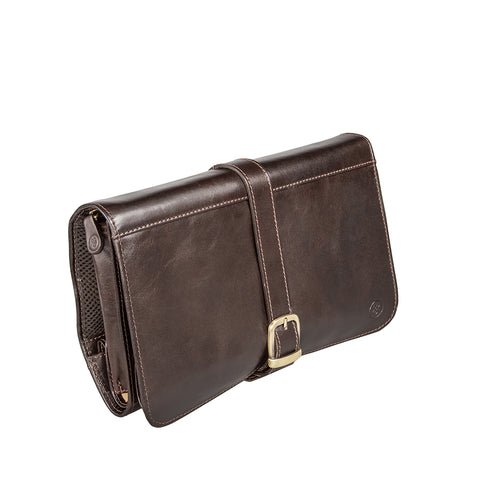 Image 2 of the 'Pratello' Dark Chocolate Veg-Tanned Leather Wash Bag