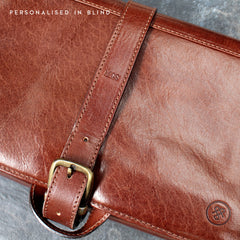Image 9 of the 'Pratello' Dark Chocolate Veg-Tanned Leather Wash Bag