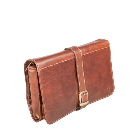 Image 2 of the 'Pratello' Chestnut Veg-Tanned Leather Wash Bag