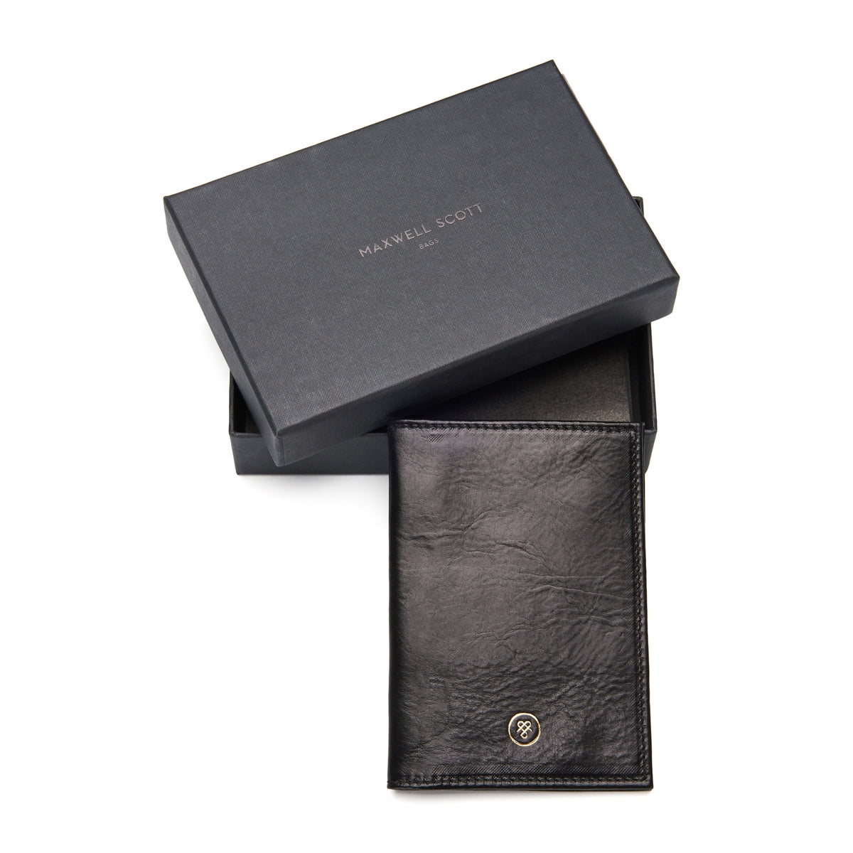 Image 7 of the 'Prato' Black Veg-Tanned Leather Passport Wallet