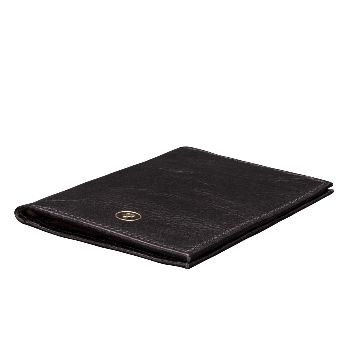 Image 4 of the 'Prato' Black Veg-Tanned Leather Passport Wallet