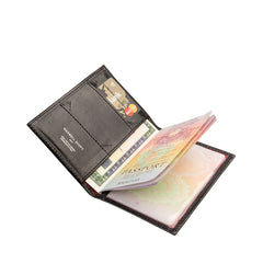 Image 6 of the 'Prato' Black Veg-Tanned Leather Passport Wallet